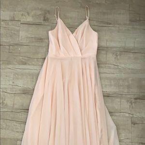 Lulu's Long Pink Bridesmaid Dress
